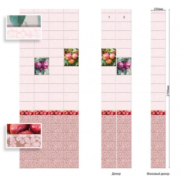 ПВХ панели с цифровой печатью Яблоневый сад красный