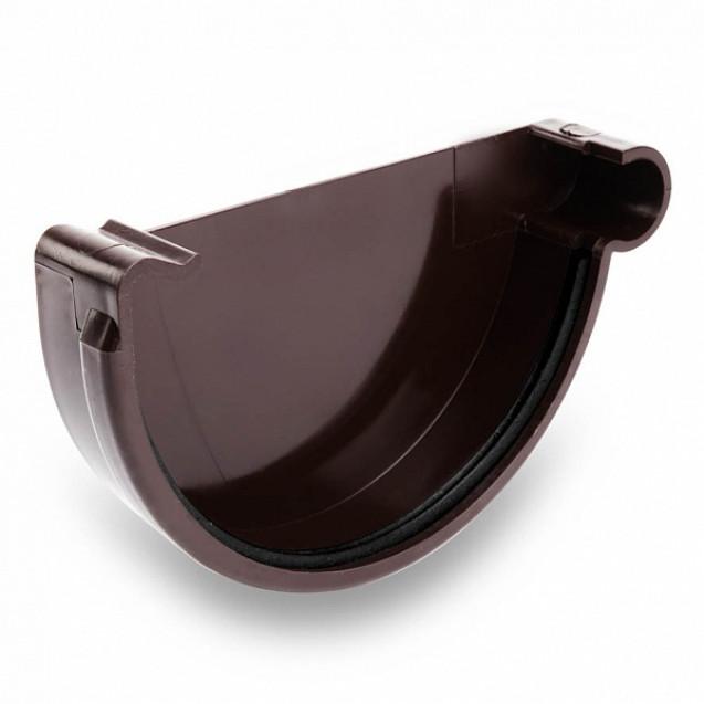 Заглушка левая водосточная 124/80 тёмно-коричневая